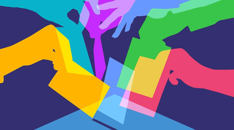 Hands casting ballots