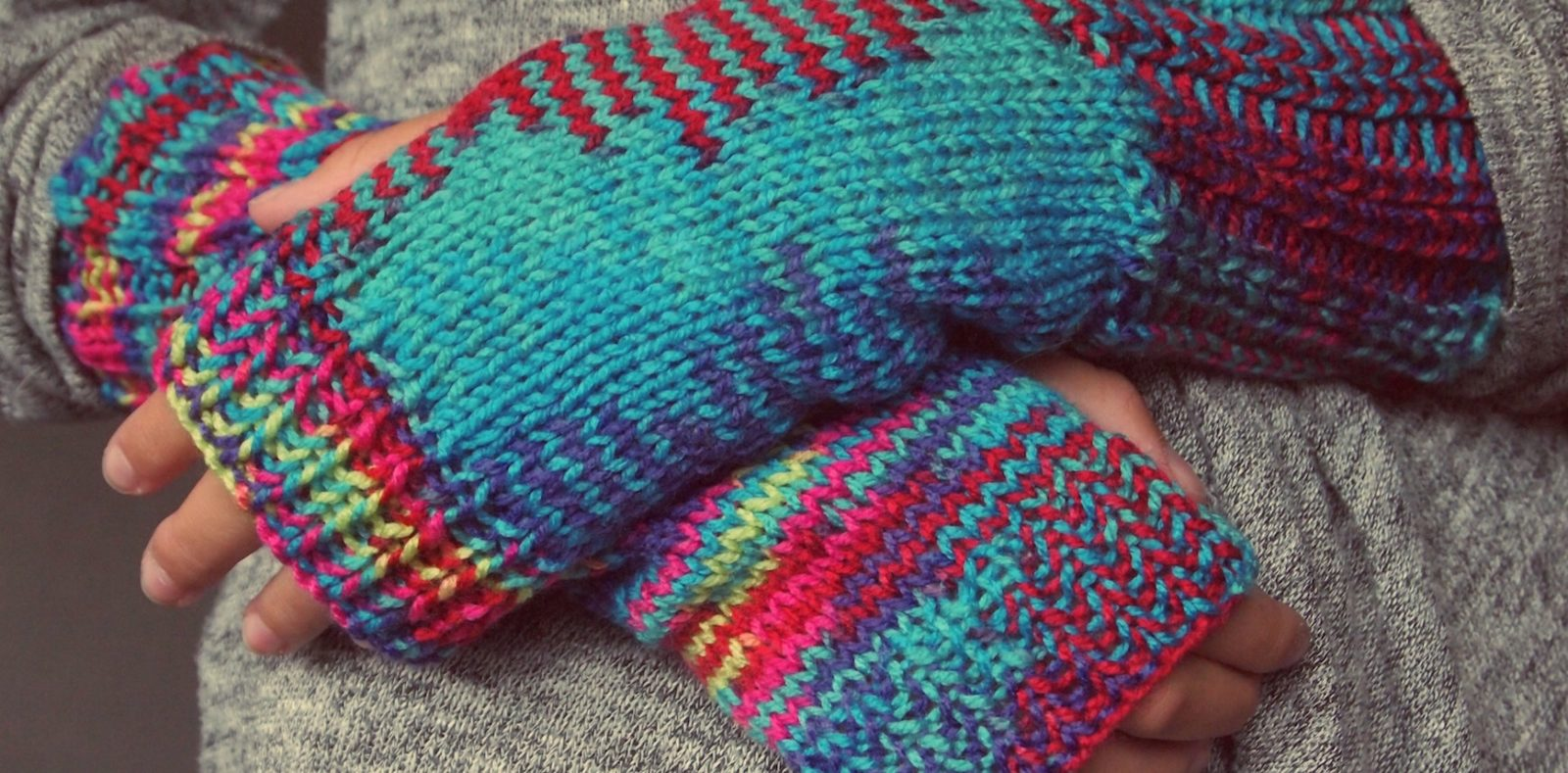 colorful handknit gloves