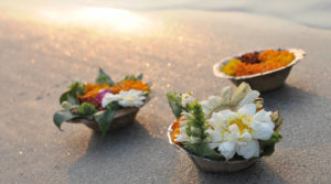 offerings of flowers on ganga