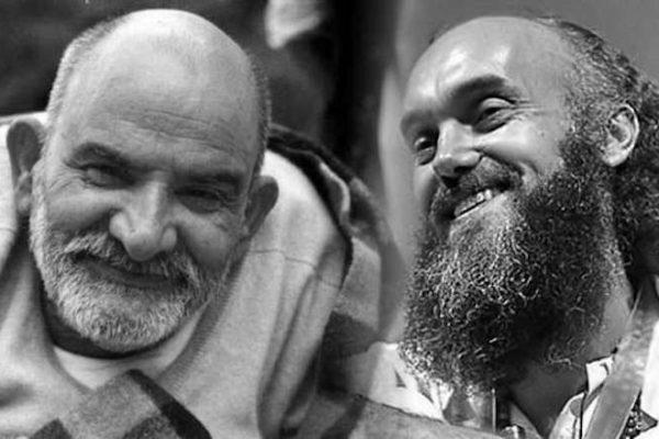 Ram Dass & Neem Karoli Baba in b/w photo collage