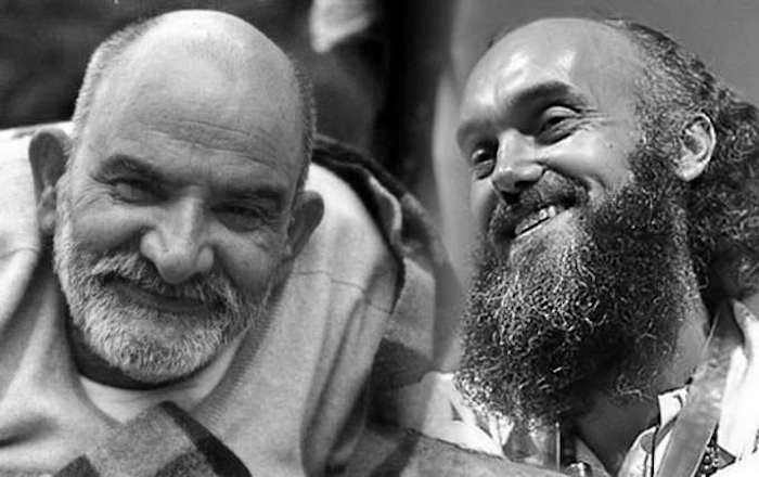 Ram Dass & Neem Karoli Baba in b/w photo collage