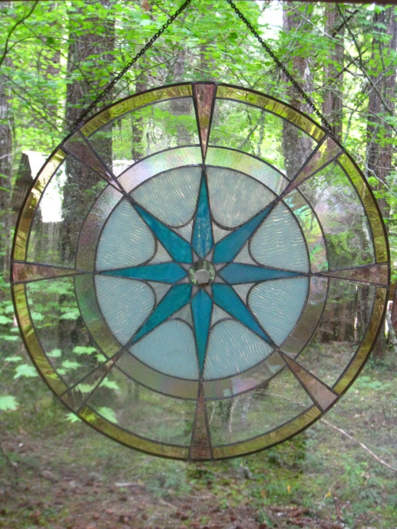 Stained glass in Breitenbush sanctuary