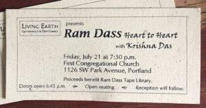 2000 ticket to Ram Dass